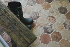 Our Small Farmhouse Mudroom Reveal - Daly Digs Entryway Tile Floor, Entry Tile, Foyer Flooring, Farmhouse Flooring, Brick Flooring, Kitchen Flooring, Floors, Vinyl Flooring, Hexagone Tile