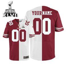 Mens Nike San Francisco 49ers Customized Elite Team Road Two Tone Super  Bowl XLVII NFL Jersey 8b23cc844