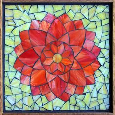 "FlowersTangerine Dahlia, stained glass mosaic, 11""x11"" (12""x12"" framed), 2015   Visit Kasia Mosaics on Facebook to see lots more work: https://www.facebook.com/KasiaMosaics"