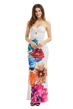 Sexy Twist Front Bandeau Split Maxi Floral Dress