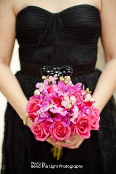 mokara orchids, pink roses