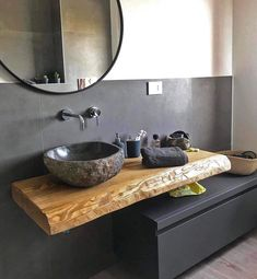 Home&Decor. Suspended bathroom cabinet 120 cm - Wooden shelf for sink and black drawer Bathroom Design Luxury, Modern Bathroom, Small Bathroom, Bathroom Black, Bathrooms, Design Wc, House Design, Modern Design, Design Ideas