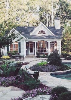 Adorable cottage style home. Here's the link but not a lot of info found. deco… Adorable cottage style home. Here's the link but not a. Bungalows, Cute House, My House, House Floor, Cute Little Houses, Little Cottages, Small Cottages, Cottage Homes, Cottage Style