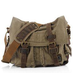 military green soldier messenger bag