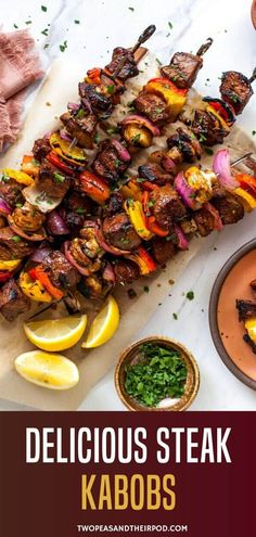 These Steak Kabobs are marinated in a delicious steak marinade and stacked on a skewer with mushrooms, bell pepper, and red onion and grilled to perfection! Kabob Recipes, Grilling Recipes, Meat Recipes, Cooking Recipes, Yummy Recipes, Kitchen Recipes, Game Recipes, Vegan Kitchen, Kitchen Hacks