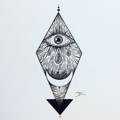 Geometric lines and dots Triangle The eye and moon