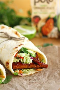 Marinated Tofu Naan Wraps with Avocado Lime Slaw