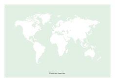 Tavla med världskarta.