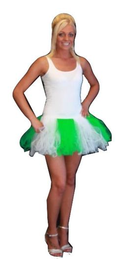 Ladies Dark Green White /& Emerald Cyber Tutu Festival Pixie Skirt Fancy Dress