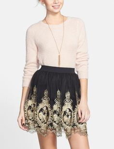 Absolutely adore this metallic embroidered tulle skater skirt.