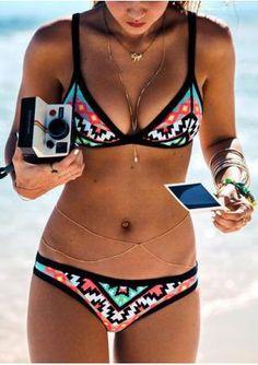 83f156308a0 Geometric Spaghetti Strap Push Up Bikini Set Swim Suits Bikinis, Bikini  Swimwear, Women's Bikinis