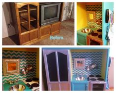 Entertainment Center Turned Play Kitchen | My entertainment center turned play kitchen project!