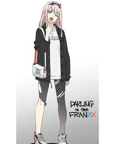 Zero Two (Darling in the FranXX) Image - Zerochan Anime Image Board Anime Amor, M Anime, Chica Anime Manga, Anime Chibi, Anime Girl Cute, Kawaii Anime Girl, Anime Art Girl, Anime Girls, Fanart Manga