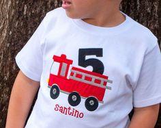 Fire Truck Birthday T-Shirt Fireman Red by KensingtonMaryDesign