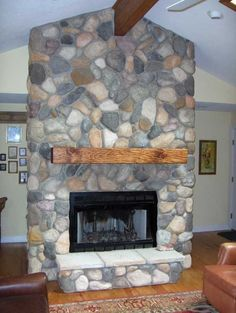 Pine Log Fireplace Mantel - Solid Beam (easy to install)