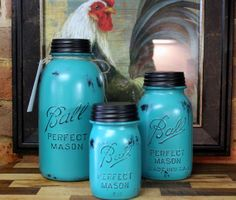 3 Piece Teal Mason Jar Canister Set Kitchen Distressed on Etsy, $45.00