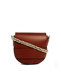 ASOS Leather Cross Body Bag With Chain Strap