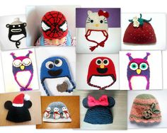 Ravelry: Baby Hat Pattern 15 different characters, Hello Kitty, Angry/Sleepy Owl, Spiderman, Monkey, Elmo, Cookie Monster, Mickey/Minnie, Beanie / Earflap pattern by Pattern Sudio