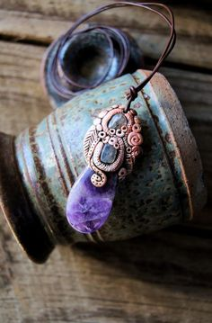 Jewelry Amethyst and Labradorite Clay Pendant Necklace by TRaewyn, $50.00