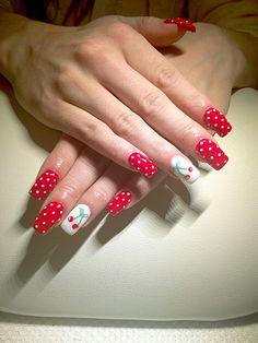 #pinup #nails #dots #cherry