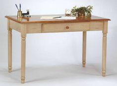 Eco WOOD Cherry & Antique White Wash Finish Computer Writing Desk w/Drawer