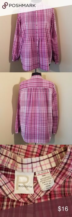 """Fuchsia Plaid Pin Tuck Mandarin Collar Blouse, 14 Beautiful pink, white and fuchsia plaid button-down shirt with bodice pin-tucking and gathered back. Great condition!  60% cotton, 40% polyester  18"""" sleeve, 50"""" bust, 28"""" length. (All measurements are approximate.)  Size 14W by Roaman's. Roaman's Tops Blouses"""