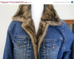 Denim Jacket Faux Fur Collar Cuffs Signed by VintagObsessions