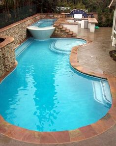 You need to see this swimming pool with Jacuzzi design to decide the kind of swimming pool and hot tub would suit your garden best. Outdoor Pool, Outdoor Spaces, Outdoor Living, Outdoor Decor, Outdoor Ideas, Outdoor Kitchens, Indoor Outdoor, Outdoor Cooking, Pool Spa