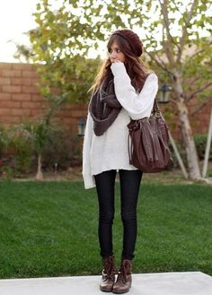 Over sized ivory sweater, black leggings, cozy knit scarf, and the cutest boots. This is the most adorable fall outfit ever!