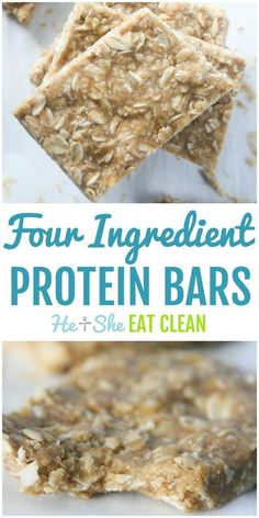Four Ingredient Protein Bars Looking for the perfect grab-and-go breakfast for your busy life? Try these simple FOUR Ingredient Protein Bars. High Protein Snacks, Clean Protein Bars, Low Carb Protein Bars, Protein Bar Recipes, Protein Powder Recipes, Protein Foods, Homemade Protein Bars, Protein Muffins, Protein Cookies