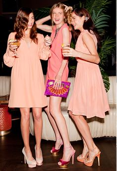 We love the idea of bridesmaids picking their own dresses. Especially these salmon and pink ones from ASOS, Erin Featherstone & Karen Walker.