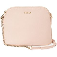 Furla Women's Miky Large Leather Crossbody - Cream/Tan ($129) ❤ liked on Polyvore featuring bags, handbags, shoulder bags, pink leather handbag, pink purse, leather handbags, leather cross body purse and tan leather purse