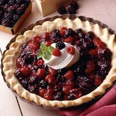 This cream-topped, chilled berry pie will become a summer favorite.