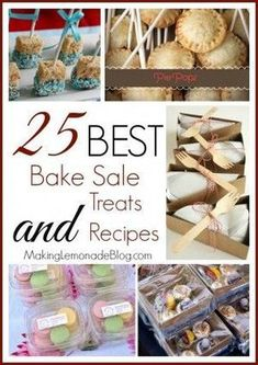 25 Best Bake Sale Treats and Recipes With all the fairs, holidays, church and school events going on right now we're smack dab in the middle of bake sale season. You know at some point you'll have to face the bake sale table so might as well be prepared. Bake Sale Treats, Bake Sale Recipes, Baking Recipes, Dessert Recipes, Bake Sale Cookies, Bake Sale Food, Cupcake Recipes, Easy Recipes, Mini Desserts