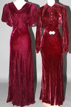 Front 1930s gorgeous burgundy silk velvet evening dress and matching jacket. Such a luscious color!