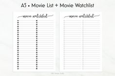 **This is an INSTANT DOWNLOAD** No printed materials will be shipped.   Keep track of your favourite movies with my templates (ノ◕ヮ◕)ノ*:・゚✧   ▶ YOU WILL RECEIVE:  A zip file with:  - Movie List + Movie Watchlist templates in PDF format. Both left-sided and right-sided page included.  You will also find a folder with the Movie List templates with trimming lines on A4 and Letter size sheets.   ▶ SIZE:  • A5 (148mm x 210mm).  Works perfectly with Filofax (A5), kikki.K (Large) and any other A5…