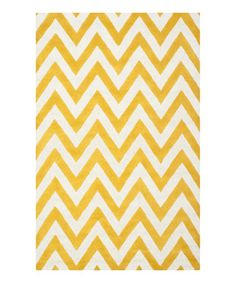 Another great find on #zulily! Gold & Ivory Zigzag Wool Morro Rug #zulilyfinds