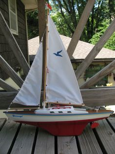 Vintage Toy Pond Yacht or Sailboat XLT Condition. $42.00, via Etsy.