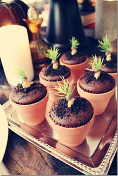 Mandrake Cakes for Harry Potter Party... this could be cute for a baby shower also!!