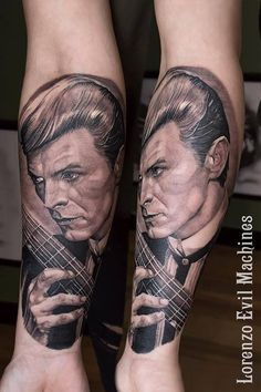 David Bowie and Guitar  Realistic Black and Gray Tattoo by Lorenzo Evil Machines, Roma - Italia