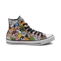 <p>Complete your classic look with the iconic style of the new Chuck Taylor All Star Hi Looney Tunes Sneaker from Converse! These crazy-cool Looney Tunes Chucks sport a high-top design, constructed with a soft canvas upper with allover graphics of your favorite Looney Tunes characters, and signature Chuck Taylor logo patch. <b>Only available at Journeys and Underground by Journeys!</b></p>  <p><u>Features include</u>:</p> <...