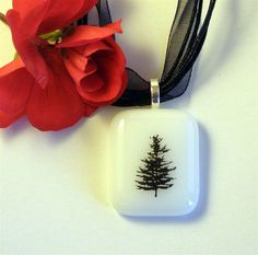 Fused Glass Pendant Necklace Black PIne by GreenhouseGlassworks