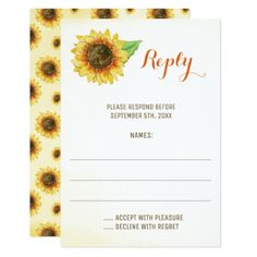 Sunflower Watercolor Wedding Reply Cards - sunflowers sunflower gifts floral flowers cyo gift idea unique