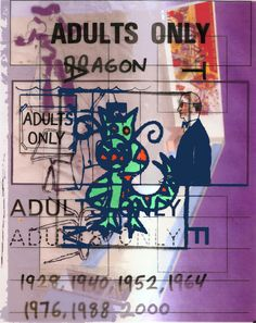 Adults only (dragon)   Printer collage   2014