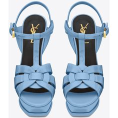 Saint Laurent Classic Tribute 105 Sandal ($770) ❤ liked on Polyvore featuring shoes, sandals, ankle strap sandals, high heel shoes, ankle strap platform sandals, high heels stilettos and strappy sandals
