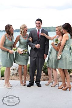 Bridal party photo ideas. Bridal inspiration. Bridesmaids with the groom. #MindyCityHair