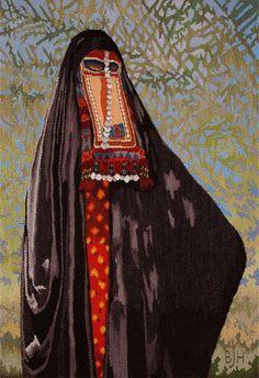 Bedouin Woman, 1999, 35 x 25″ (89 x 64cm). Beautiful tapestry by Barbara Heller