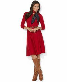 Lauren Ralph Lauren Dress, Three-Quarter-Sleeve Belted Pleated - Sweater Dresses - Women - Macy's