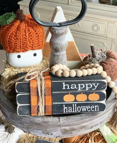 Excited to share this item from my shop: Stamped books / Halloween decor / Happy Halloween / Wood books / book stack / Tiered tray decor / Farmhouse decor / Fall decor Happy Halloween, Rustic Halloween, Farmhouse Halloween, Halloween Books, Halloween Home Decor, Holidays Halloween, Halloween Crafts, Halloween Decorations, Halloween Lanterns