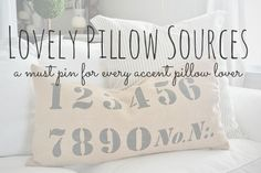 Great pillow sources- A must pin for future home decorating projects!!